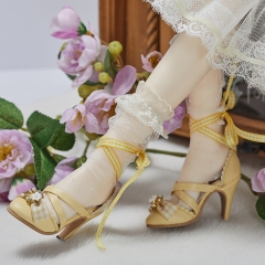 1/3 Lolita style X straps high heel shoes - Yellow